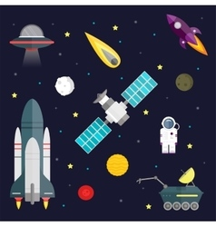 Space travel symbols infographic Cosmos vector