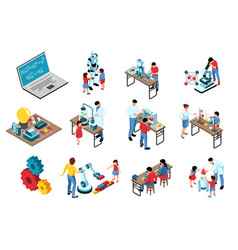 stem isometric icons collection vector image