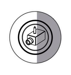 Sticker of monochrome contour of interior video vector