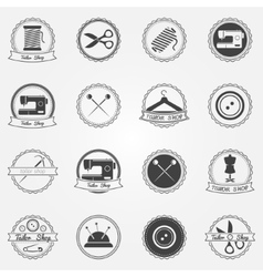 Tailor shop elements and badges vector image