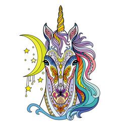 tangle magic unicorn colorful isolated vector image