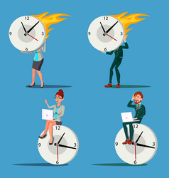 time management man woman procrastination vector image