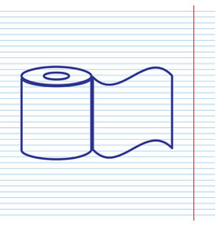 Toilet paper sign navy line icon on vector