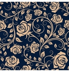 Twisted blooming roses seamless pattern vector image