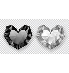 two crystal hearts vector image