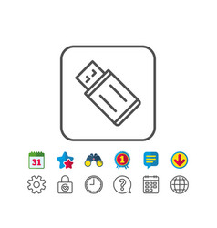 Usb flash drive line icon memory stick sign vector