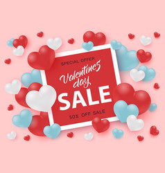 valentines day sale banner with sign in bright red vector image