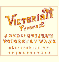 victorian font in ancient style antique old vector image