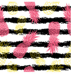 Vintage grunge pink and yellow pineapples and vector