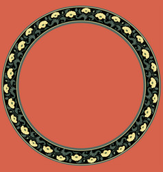 vintage round frame with yellow tulips art nouvea vector image