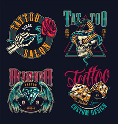 Vintage tattoo studio colorful badges vector