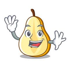 Waving slice of ripe green pear character vector