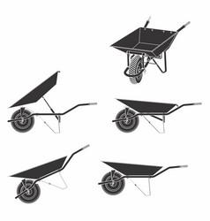 Wheelbarrow multiple views and black fill vector