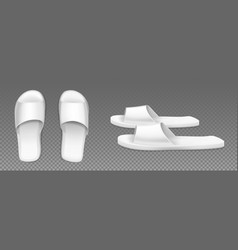 White slippers top and side view footwear for home vector