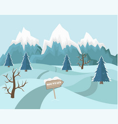 Winter mountain landscape background vector