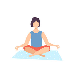 Young man meditating in lotus position guy vector