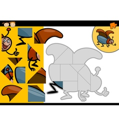 cartoon beetle jigsaw puzzle game vector image