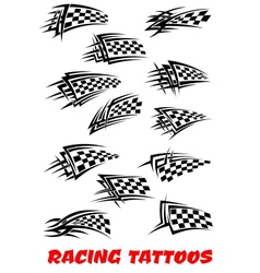 Checkered flags tattoos vector image vector image