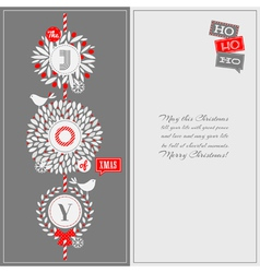 Christmas greeting card with holly wreath and bird vector image