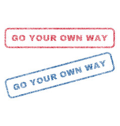 Go your own way textile stamps vector