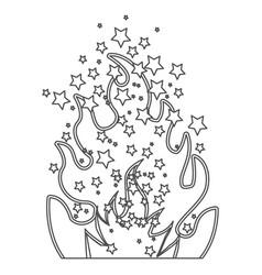 grayscale contour of olympic flame with stars vector image