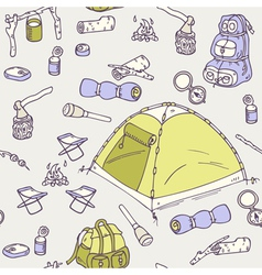 Hand drawn camping seamless pattern vector image vector image