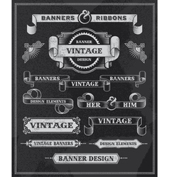 Retro Banner and ribbon chalkboard design set vector image vector image