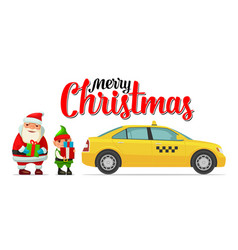 santa claus elf and taxi with shadow and boxes vector image vector image