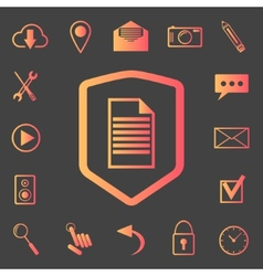 set of web icons on the shield vector image vector image