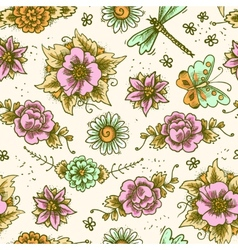 Vintage floral colored seamless pattern vector image