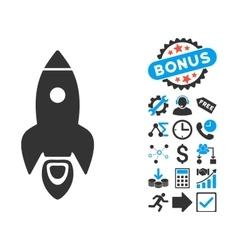 Rocket Flat Icon with Bonus vector image