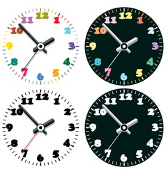 set of colorful clocks vector image vector image