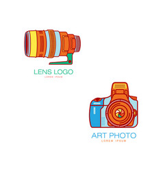 art photo camera lens icon isolated vector image