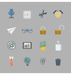 Business collection of flat office supplies vector image vector image