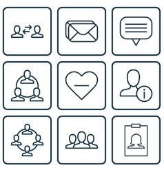 Set of 9 social network icons includes teamwork vector