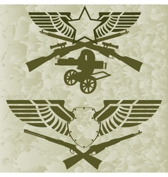 Badges with wings and firearms vector image