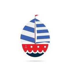 boat icon color vector image vector image