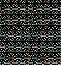 Grunge triangle shapes seamless pattern in gold vector image vector image