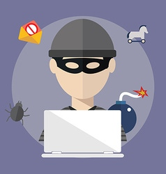 Hacker activity computer and e-mail spam viruses vector image vector image