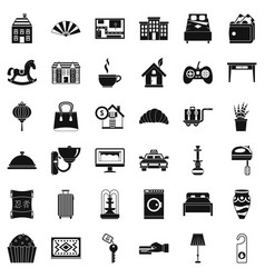 hotel service icons set simple style vector image vector image