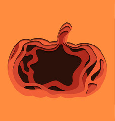 3d festive of pumpkin cut from paper thanksgiving vector image