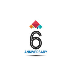 6 anniversary logotype with colorful crown vector