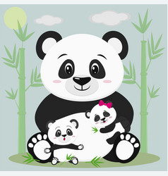 a sweet panda sits and holds a child with a bow vector image