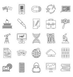 Academic degree icons set outline style vector