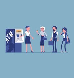 Atm line and female assistant helping clients vector