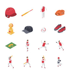 baseball game sport signs 3d icons set isometric vector image