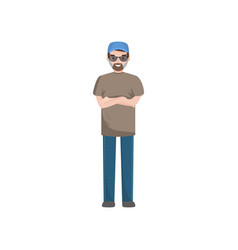 Bearded man wearing casual clothes glasses and vector