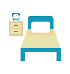 bed hotel with nightstand vector image