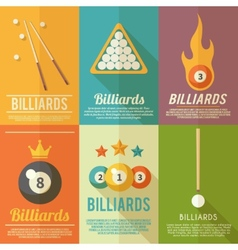 Billiards Poster Set vector