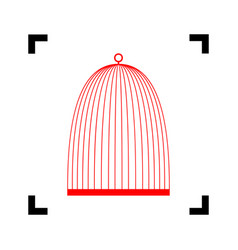 bird cage sign red icon inside black vector image